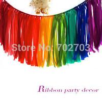 wedding decoration supplies rainbow ribbon curtain garland