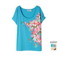 4XL 5XL 6XL Plus Size Casual Women Floral Print Tee Shirt Lady Female Flower Top 2014 New Summer Big Large XXXXL XXXXXL XXXXXXL