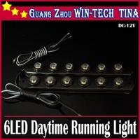Free Shipping New 4pcs/lot  Car 6 LED DRL Driving Daytime Running Day LED Light Head Lamp Super White
