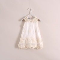 2014hot sale little girls princess embroidery lace pearls dress,children lace sundress