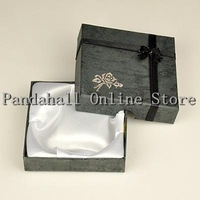 Free Shipping For US! Black Square Cardboard Bracelet Boxes with Flower Sponge and Fabric Inside 90 x 90 x 20 mm