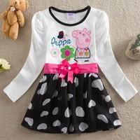 Retail, new 2014 spring fashion kids baby girls clothing peppa pig dress flower girls children clothing baby girls evening dress