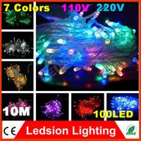 1pcs/lot 10m 7 colors AC110/220V led string light 100 leds wedding partying xmas christmas tree decoration lights led light
