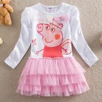Retail,new summer dress 2014 Peppa pig clothing dress kids baby girls dresses children casual fashion cartoon baby girl clothing