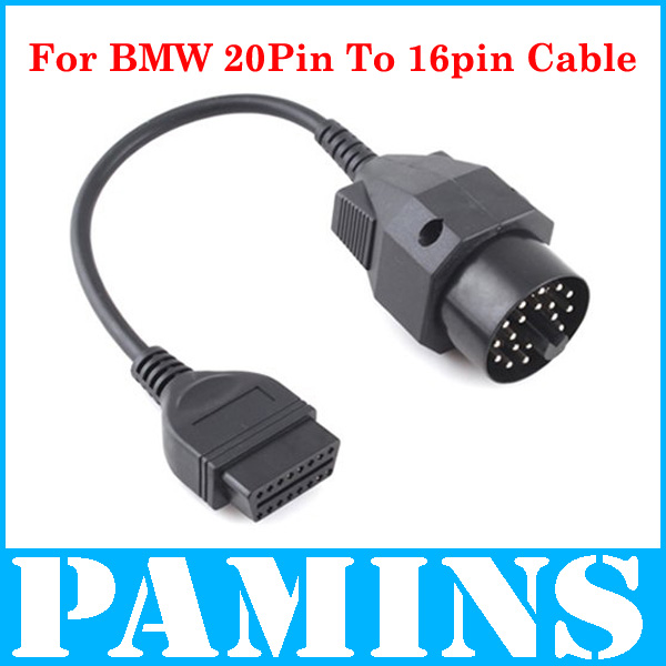 2014 For Obd2 BMW Cable 20 Pin Male To 16Pin Female Auto Car Diagnostic Tool Connector Cable For BMW(China (Mainland))