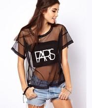 New 2014 Fashion Casual Shirt Women Clothing Transparent Women Blouse Paris Letter Print Shirts Sexy Mesh Black Blouse Plus Size(China (Mainland))