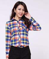 2014 spring new high quality pure cotton flannel plaid shirt formal blouse for women