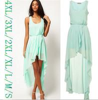 2015 NEW fashion irregular Asymmetric chiffon dress,plus size S -- 4XL women sexy Dovetail dress, candy color sexy party dress