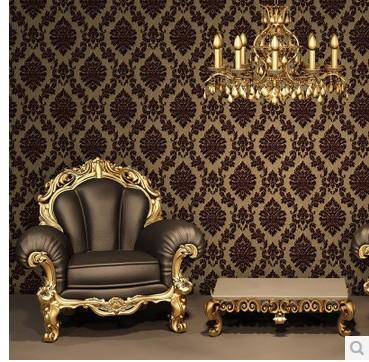 Europe Classic Luxury Flocking Damask Velvet Wallpaper