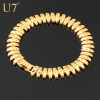 2014 New 18K Real Gold Plated Unique 1 CM Chunky Chain FREE SHIPPING Trendy Strand Bracelets & Bangles Women/ Men Jewelry H397