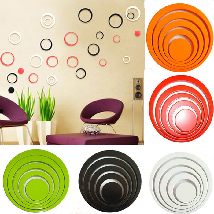 1 Set color Indoors bathroom home Decoration Circles Creative Stereo Removable 3D DIY Wall Stickers(China (Mainland))