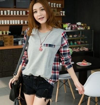 2014 moda nova camiseta para as mulheres patchwork xadrez do vintage porte soltos mais casuais t -shirt mulher top vermelho, cinza , preto L , XL, XXL , 3XXXL(China (Mainland))