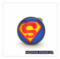 Men's Women's  STAINLESS STEEL POST EARRINGS SUPERMAN 8mm Super Hero Comic Tiny NEW Pair Stud, Free shipping,E#041