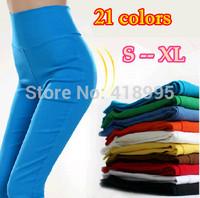 21 Colors New 2014 Women's Leggings Fashion Candy Colors High Waist Slim Pencil Leggings Plus Size Casual Slim Skinny Leggings