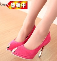 2014 new nightclub sexy ultra high heels with pointed metal (35-40) X0025