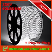 Free Shipping! 1M 220V High Bright  Single Color SMD5050 Flexible IP67 Waterproof Led Strip Light 60leds/m+ EU Power Plug