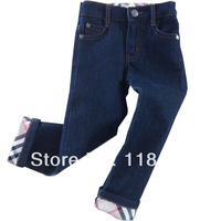 Hot sale UK design boy's jeans with plaid edge kids autumn and spring Trousers long pants for 2-6years in stock free shppping