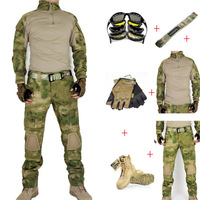 Military Operational Combat  Tactical Airsoft Package of  6 PCS ( T shirt + Pants + Belt + Glove + Boots +Sunglasses ) ATAC FG