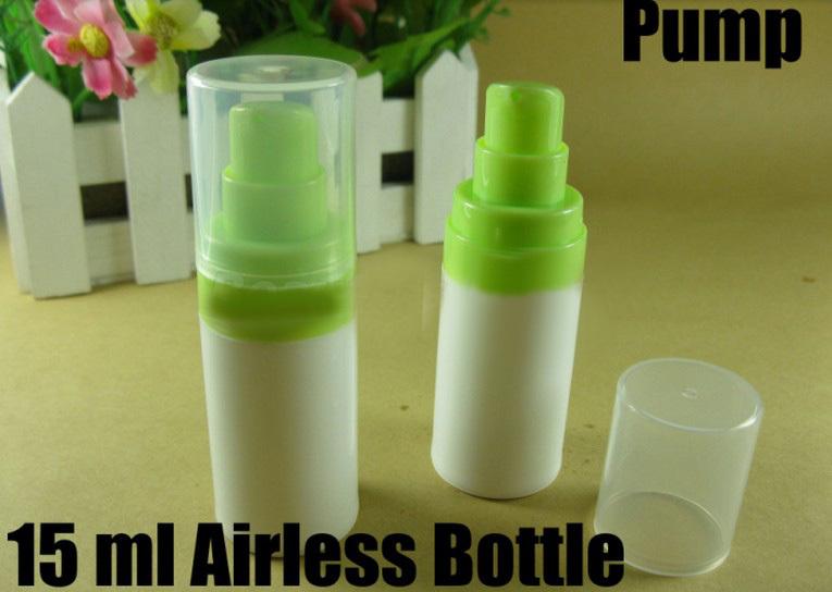 Free Shipping 10Pcs/Lot 15ML Cosmetic Airless Pump Bottle,Plastic Airless Bottle,Airless Bottle With Green Pump(China (Mainland))