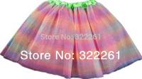 Free Shipping 2014 New Rainbow Girls Pettiskirts Tutu Skirt Ball Gown Princess Fluffy Skirt Baby Tulle Tutu Ballet Dance skirt