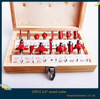 Hot new brand new 15pcs 1/4 shank tungsten carbide router bit set wooden case tool kit