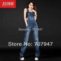 Free shipping 2014 spring spaghetti strap denim overalls slim denim romper women loose jeans jumpsuit fashion Playsuit