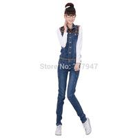 Free shipping Playsuit 2014 denim overalls slim denim romper women spaghetti strap pants jeans jumpsuit