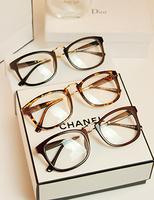 2014 Glasses Box Metal Big Black Eyeglasses Frame Non-Mainstream Plain Glass Lens 9183