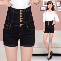 2014 Women New Fashion High Waist Denim Shorts Single-breasted Plus Size Black Hot Pants Was Thin Denim ShortsXXXXXL