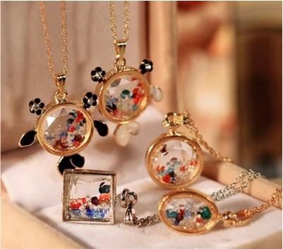 spring and autumn drift bottles colorful crystal magic perfume bottle necklace female short design necklace 0260(China (Mainland))