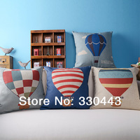 "4PCS/LOT IKEA style Linen Pillow Cover Cartoon Hot Balloon Printed Cushion Cover Decor Pillow Case 18""(45x45CM) Free Shipping"