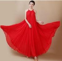 2014 New fashion Bohemia spaghetti strap long dress,plus size S -- XXL women ruffles chiffon dress,sexy Temperament dress