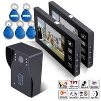 "Home security 7"" TFT wired Video Door Phone wired Door Phone Intercom System with Touch Key 2 indoor 1 outdoor"