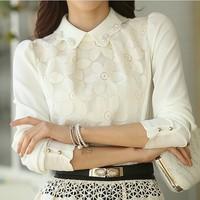 Blusas Femininas New 2015 Autumn Clothing White Blouse Women Shirt Casual Chiffon Blouse pullover Top Rivet Plus Size XXXL Sale