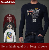 free shipping mens t shirt men full long sleeve 100% cotton high quality  men's round O neck long-sleeved T-shirt