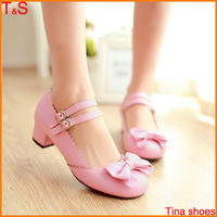 Large Size 34-43 women's shoes low heel bowknot cute buckle pink Black Beige 2014 spring students shoes 006