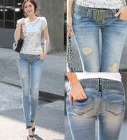 Summer new jeans woman with pencil pants feet high hole stretch skinny denim trousers women jeans 2014 with belt