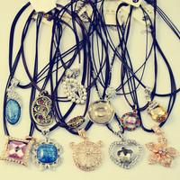 Free Shipping 10pcs/lot  Necklaces & Pendants 2014 Fashion Jewelry Leather Strap Rhinestone Mosaic Necklaces#NE015