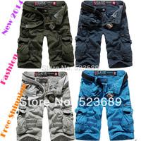Free Shipping  New 2014 Fashion Spring Summer Loose Casual Cargo Shorts Large Yard Fifth Multi-pocket Men Shorts