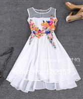 Spring and summer female one-piece dress sleeveless vest expansion bottom dress elegant applique embroidered dress black white