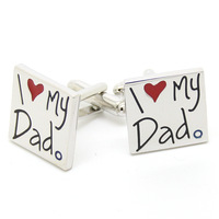 """I love my dad""cufflinks- Free shipping! AB0432"