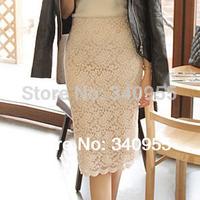 Wholesale New Fashion 2014 Elegant Lace Women Skirt Sexy Slim Black Free Shipping Size S M L XL XXL