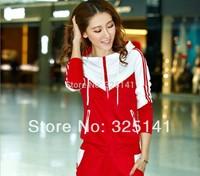 2014 spring and autumn sport suit women women's sportswear set fashion stand collar casual sweatshirt sports clothing set