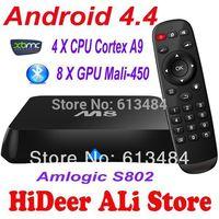 Android 4.4 TV box Quad Core XBMC M8 Amlogic S802 2G/8G2.4G/5G WiFi Mali450 HDMI 1.4b Bluetooth DOLBY True HD EM8 Media Player