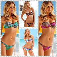 New 2014 Sexy Push Up Bikini Vintage Swimwear Women PAD Swimsuit Brand Print Bikinis Set Fashion Bathing Suit Free Shipping