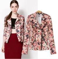 Fashion normic bershka 2014 spring and summer flower digital print zipper jacket slim all-match outerwear