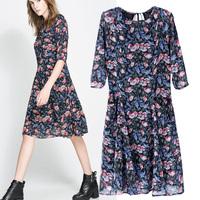 HOT 2014 women's spring slim dress fashion vintage zars o-neck half sleeve print one-piece dress