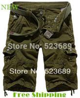 Free Shipping  New 2014 Fashion Spring Summer Loose Casual Cargo Pants Large Yard Fifth Multi-pocket Men Pants