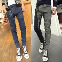 Man Spring2014 New Arrival Men's  Zipper Style Jeans skinny denim harem pants personality skinny jeans men