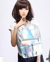 Promition Hologram Silver school bag double-shoulder backpack HARAJUKU laser symphony bag preppy style casual backpack Large